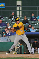 Wichita State Shockers infielder Casey Gillaspie #16 at bat during a game against the Coastal Carolina Chanticleers at Ticketreturn.com Field at Pelicans Ballpark on February 23, 2014 in Myrtle Beach, South Carolina. Wichita State defeated Coastal Carolina by the score of 5-2. (Robert Gurganus/Four Seam Images)