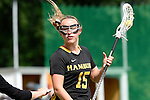 GER - Hannover, Germany, May 30: During the Women Lacrosse Playoffs 2015 match between Muenster Mohawks (blue) and HTHC Hamburg (black) on May 30, 2015 at Deutscher Hockey-Club Hannover e.V. in Hannover, Germany. Final score 9:20. (Photo by Dirk Markgraf / www.265-images.com) *** Local caption *** Jennifer Karle #15 of HTHC Hamburg