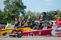 Aug 18, 2019; Brainerd, MN, USA; Crew members for NHRA top fuel driver Richie Crampton during the Lucas Oil Nationals at Brainerd International Raceway. Mandatory Credit: Mark J. Rebilas-USA TODAY Sports