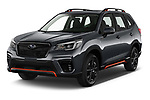 2021 Subaru Forester e-Boxer-Sport 5 Door SUV Angular Front automotive stock photos of front three quarter view