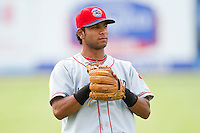 Carlos Perdomo #11 of the Lakewood BlueClaws prior to the game against the Kannapolis Intimidators at Fieldcrest Cannon Stadium on July 16, 2011 in Kannapolis, North Carolina.  The Intimidators defeated the BlueClaws 5-3.   (Brian Westerholt / Four Seam Images)