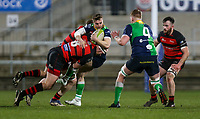 Friday 6th March 2020 | Armagh RFC vs Ballynahinch RFC<br /> <br /> Aaron Cairns is tackled by Neil Faloon during the Bank Of Ireland Ulster Senior Cup Final between the City of Armagh RFC and Ballynahinch RFC at Kingspan Stadium, Ravenhill Park, Belfast, Northern Ireland. Photo by John Dickson / DICKSONDIGITAL