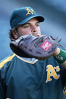 Mike Piazza of the Oakland Athletics during batting practice before a game from the 2007 season at Angel Stadium in Anaheim, California. (Larry Goren/Four Seam Images)