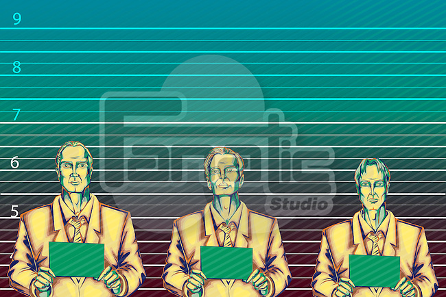 Illustrative image of businessmen standing against height chart representing business crime