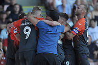 Swansea City's Yan Dhanda celebrates scoring his side's second goal with team mates during the Sky Bet Championship match between Sheffield United and Swansea City at Bramall Lane, Sheffield, England, UK. Saturday 04 August 2018