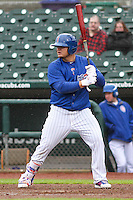 Iowa Cubs first baseman Dan Vogelbach (20) at bat during a Pacific Coast League game against the Colorado Springs Sky Sox on May 1st, 2016 at Principal Park in Des Moines, Iowa.  Colorado Springs defeated Iowa 4-3. (Brad Krause/Four Seam Images)
