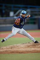 Wilmington Blue Rocks starting pitcher Alfonso Hernandez (15) in action against the Hudson Valley Renegades at Dutchess Stadium on July 27, 2021 in Wappingers Falls, New York. (Brian Westerholt/Four Seam Images)