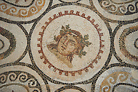 Picture of a Roman mosaics design, from the ancient Roman city of Thysdrus, Bir Zid area. 3rd century AD. El Djem Archaeological Museum, El Djem, Tunisia.