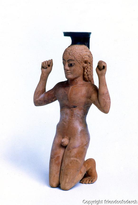 Greek Art:  Vase in the shape of a Kneeling Boy, 540-530 B.C.  Greek Ministry of Culture, Athens.