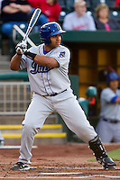 Wilin Rosario (20) of the Tulsa Drillers at bat during a game against the Springfield Cardinals on April 29, 2011 at Hammons Field in Springfield, Missouri.  Photo By David Welker/Four Seam Images.