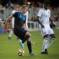 SAN JOSE,  - SEPTEMBER 1: Jackson Yueill #14 of the San Jose Earthquakes during a game between Orlando City SC and San Jose Earthquakes at Avaya Stadium on September 1, 2019 in San Jose, .