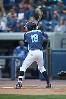 Jose Azocar (18) of the West Michigan Whitecaps at bat against the South Bend Cubs at Fifth Third Ballpark on June 10, 2018 in Comstock Park, Michigan. The Cubs defeated the Whitecaps 5-4.  (Brian Westerholt/Four Seam Images)