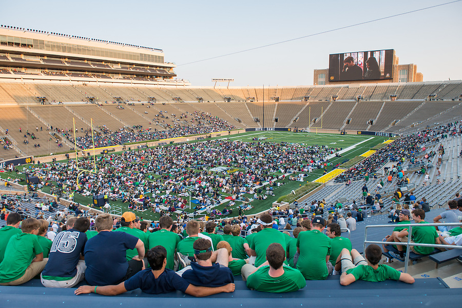 "August 26, 2017; Notre Dame welcomed students back to campus and opened the stadium to visitors for Flick on the Field, an open house event featuring a showing of ""Rudy"" on the new video board.  (Photo by Barbara Johnston/University of Notre Dame)"