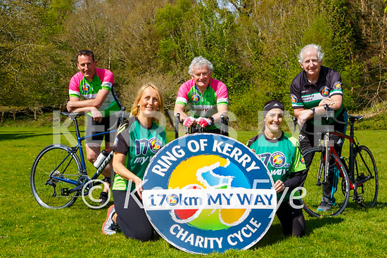 Enda Walshe, Sharon O'Connor, Gary Galvin Chairperson Triona O'Connor, Cathal Walshe launching the Ring of Kerry 170km my way charity cycle in Killarney on Saturday