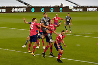 ST PAUL, MN - SEPTEMBER 9: Michael Boxall #15 of Minnesota United FC goes to head a ball during a game between FC Dallas and Minnesota United FC at Allianz Field on September 9, 2020 in St Paul, Minnesota.