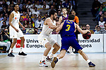 (L-R) Real Madrid's Anthony Randolph, Real Madrid's Facundo Camapzzo and Barcelona's Kevin Pangos during Liga Endesa match between Real Madrid and FC Barcelona Lassa at Wizink Center in Madrid, Spain. March 24, 2019.  (ALTERPHOTOS/Alconada)