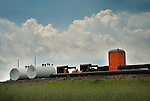 Tanks and Port-a-Potty at natural gas drilling site, Lycoming County, Pennsylvania...........................................
