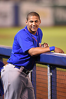 Midland RockHounds third baseman Jefry Marte (34) in the dugout during a game against the Tulsa Drillers on May 30, 2014 at ONEOK Field in Tulsa, Oklahoma.  Tulsa defeated Midland 7-1.  (Mike Janes/Four Seam Images)