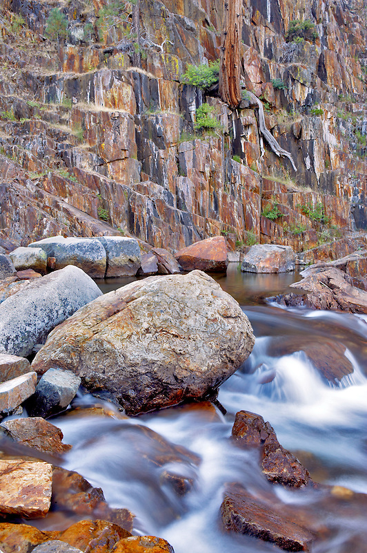 Glen Alpine Creek and multi colored rock wall. California