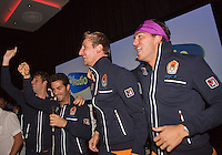 14-sept.-2013,Netherlands, Groningen,  Martini Plaza, Tennis, DavisCup Netherlands-Austria, ,  Dutch Team celebration with students , Ltr: Jean-Julien Rojer, Robin Haase, Thiemo de Bakker and Jesse Huta Galung <br /> Photo: Henk Koster