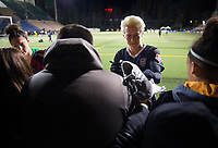 Seattle, WA - Saturday March 24, 2018: Megan Rapinoe during a regular season National Women's Soccer League (NWSL) match between the Seattle Reign FC and the Washington Spirit at the UW Medicine Pitch at Memorial Stadium. The Seattle Reign FC won 2-1.