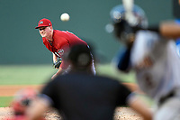 Starting pitcher Jay Groome (28) of the Greenville Drive delivers a pitch in a game against the Charleston RiverDogs on Friday, July 28, 2017, at Fluor Field at the West End in Greenville, South Carolina. Charleston won, 6-1. (Tom Priddy/Four Seam Images)