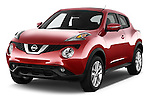 2015 Nissan Juke Acenta 5 Door Suv Angular Front stock photos of front three quarter view