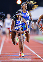 May 25, 2013: Paris Daniels of Kansas #1695 of Kansas runs the anchor leg of 4x400 relay quarterfinal heat three for a second place during NCAA Outdoor Track & Field Championships West Preliminary at Mike A. Myers Stadium in Austin, TX.