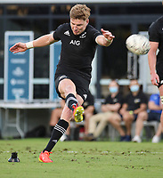 25th September 2021; Townsville, Gold Coast, Australia;  Jordie Barrett kicks one of his penalty conversions.<br /> All Blacks versus Springboks. The Rugby Championship. 100th Rugby Union test match between New Zealand and South Africa.