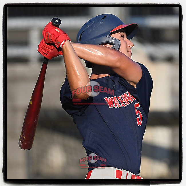 J.T. Morris (5) of the Greer Warhawks, a rising senior at Blue Ridge High, bats in a South Carolina American League game against Easley on Tuesday, July 14, 2020, at Stevens Field in Greer, South Carolina. Greer won, 18-1. (Tom Priddy/Four Seam Images)