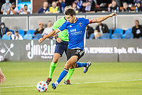 SAN JOSE, CA - AUGUST 13: Shea Salinas #6 of the San Jose Earthquakes passes the ball during a game between San Jose Earthquakes and Vancouver Whitecaps at PayPal Park on August 13, 2021 in San Jose, California.