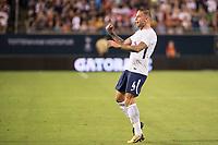 Orlando, FL - Saturday July 22, 2017: Toby Alderweireld celebrates a goal during the International Champions Cup (ICC) match between the Tottenham Hotspurs and Paris Saint-Germain F.C. (PSG) at Camping World Stadium.