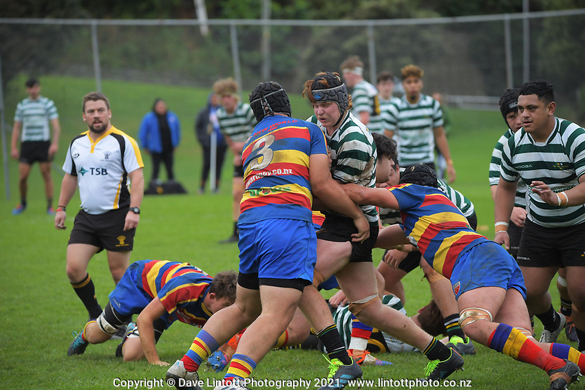Action from the Wellington John E Kelly Memorial Cup colts club rugby match between Old Boys University Green and Tawa at Ian Galloway Park in Wellington, New Zealand on Saturday, 29 May 2021. Photo: Dave Lintott / lintottphoto.co.nz