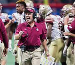 Florida State head coach Jimbo Fisher reacts to a call in the first half of the Chick-fil-A Kickoff game against Alabama at the new Mercedes-Benz Stadium in Atlanta, Georgia on September 2, 2017.   Photo by Mark Wallheiser/UPI