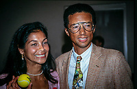 Rotterdam, Netherlands,  23 Febr. 1976, Tennis,  ABNWTT, Arthur Ashe with his whife Jeanne Moutoussamy<br /> Photo: Henk Koster/tennisimages.com