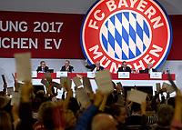 24.11.2017, Football Bundesliga 2017/2018,  FC Bayern Muenchen, Jahreshauptversammlung AUDI-Dome Muenchen. Abstimmung ueber Nichtraucherschutz, president Uli Hoeness (FC Bayern) hebt die Hand zur Abstimmung.  *** Local Caption *** © pixathlon<br /> <br /> +++ NED + SUI out !!! +++<br /> Contact: +49-40-22 63 02 60 , info@pixathlon.de