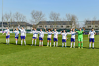 line-up team Anderlecht ( Tine De Caigny (6) of Anderlecht , Sarah Wijnants (11) of Anderlecht , Britt Vanhamel (4) of Anderlecht , Tessa Wullaert (27) of Anderlecht , Mariam Abdulai Toloba (19) of Anderlecht , Kassandra Missipo (12) of Anderlecht , Laura Deloose (14) of Anderlecht , Stefania Vatafu (10) of Anderlecht , Charlotte Tison (20) of Anderlecht , goalkeeper Justien Odeurs (13) of Anderlecht , Laura De Neve (8) of Anderlecht ) pictured during a female soccer game between  AA Gent Ladies and RSC Anderlecht on the 17th matchday of the 2020 - 2021 season of Belgian Scooore Womens Super League , saturday 20 th of March 2021 in Oostakker , Belgium . PHOTO SPORTPIX.BE | SPP | STIJN AUDOOREN