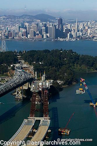 aerial photograph of San Francisco Oakland Bay Bridge replacement span construction at Yerba Buena island toward San Francisco
