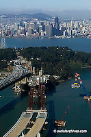aerial photograph of San Francisco Oakland Bay Bridge replacement span construction at Yerba Buena island toward San Francisco