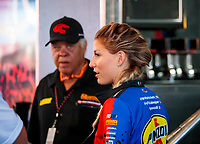 Nov 17, 2019; Pomona, CA, USA; NHRA top fuel driver Leah Pritchett with Don Prudhomme during the Auto Club Finals at Auto Club Raceway at Pomona. Mandatory Credit: Mark J. Rebilas-USA TODAY Sports
