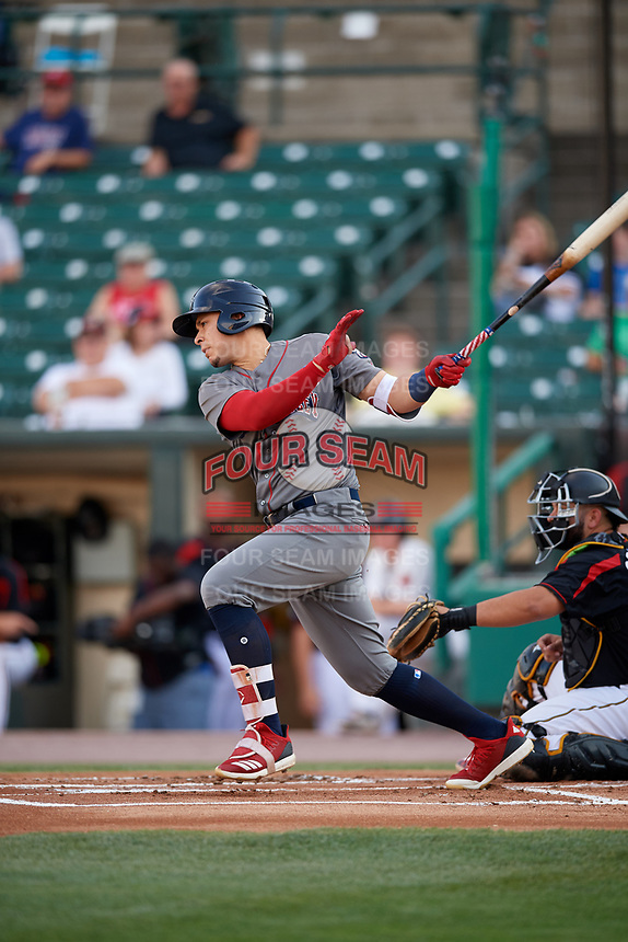 Lehigh Valley IronPigs designated hitter Joey Meneses (38) hits a single during a game against the Rochester Red Wings on September 1, 2018 at Frontier Field in Rochester, New York.  Lehigh Valley defeated Rochester 2-1.  (Mike Janes/Four Seam Images)