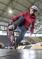 BOGOTA - COLOMBIA - 13 - 08 - 2017: Julian Lopez, Skater de Colombia, durante competencia en el Primer Campeonato Panamericano de Skateboarding, que se realiza en el Palacio de los Deportes en la Ciudad de Bogota. / Julian Lopez, Skater from Colombia, during a competitions in the First Pan American Championship of Skateboarding, that takes place in the Palace of Sports in the City of Bogota. Photo: VizzorImage / Luis Ramirez / Staff.