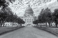 The Mississippi State Capitol and grounds, as viewed from the north, on a pleasant summer morning in Jackson, Mississippi.