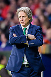 Coach Jorge Jesus of Sporting CP reacts during the UEFA Europa League quarter final leg one match between Atletico Madrid and Sporting CP at Wanda Metropolitano on April 5, 2018 in Madrid, Spain. Photo by Diego Souto / Power Sport Images