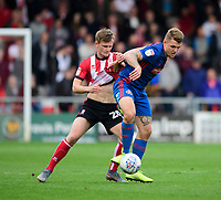 Lincoln City's Callum Connolly vies for possession with Sunderland's Max Power<br /> <br /> Photographer Chris Vaughan/CameraSport<br /> <br /> The EFL Sky Bet League One - Lincoln City v Sunderland - Saturday 5th October 2019 - Sincil Bank - Lincoln<br /> <br /> World Copyright © 2019 CameraSport. All rights reserved. 43 Linden Ave. Countesthorpe. Leicester. England. LE8 5PG - Tel: +44 (0) 116 277 4147 - admin@camerasport.com - www.camerasport.com