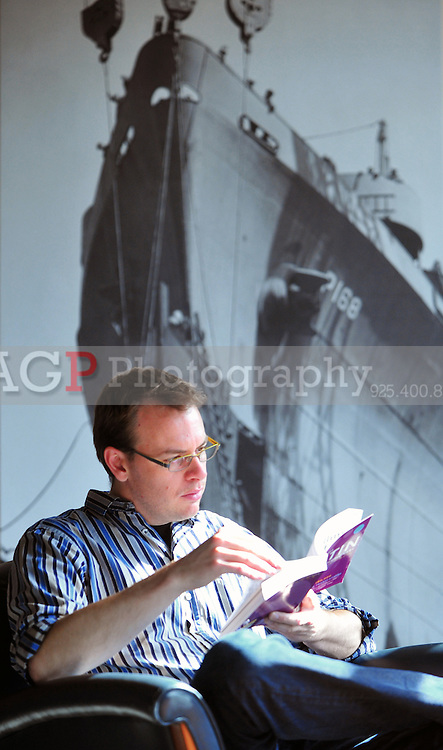 Linguist Greg Alger of Lexicon Branding works in the company's office in Sausalito, California Tuesday February 14, 2012. Lexicon is responsible for many household brand names including Dasani water, Apple's Powerbook and many others. (Photo by ZUMA Press).