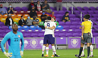 ORLANDO CITY, FL - JANUARY 31: Jesus Ferreira #9 of the United States scores a goal and celebrates with Paul Arriola #7 during a game between Trinidad and Tobago and USMNT at Exploria stadium on January 31, 2021 in Orlando City, Florida.