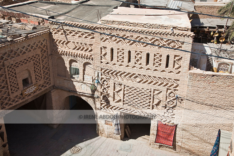 The 14th century Ouled El Hadef quarter in Tozeur, Tunisia is constructed in the city's traditional and unique brickwork style.