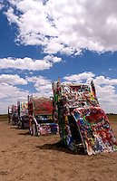 Cadillac Ranch with buried cars in ground, Amarillo Texas, USA