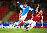 St Johnstone v Aberdeen.....30.01.13      SPL.Michael Doughty is tackled by Stephen Hughes.Picture by Graeme Hart..Copyright Perthshire Picture Agency.Tel: 01738 623350  Mobile: 07990 594431